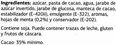 Bombones rellenos de menta - DESCATALOGADO - Ingredientes