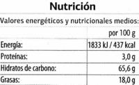 Bombones rellenos de menta - DESCATALOGADO - Información nutricional
