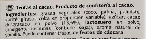Trufas al cacao - Ingredients