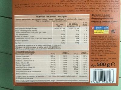Muesli crocante chocolate - Información nutricional