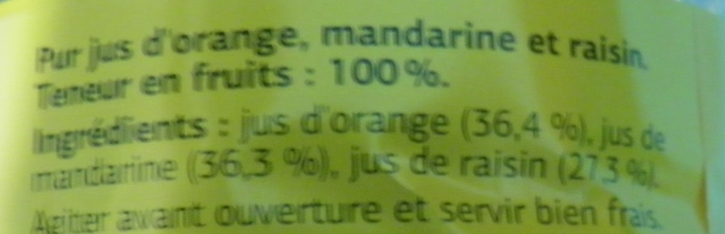 Pur Jus Orange-Mandarine-Raisin Dia - Ingrédients - fr