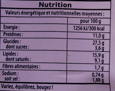 Polaire jambon cheddar - Nutrition facts