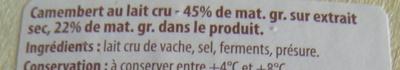 Camembert (22% MG) au Lait Cru - 250 g - Dia - Ingrédients