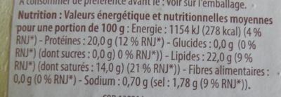 Camembert (22% MG) au Lait Cru - 250 g - Dia - Informations nutritionnelles