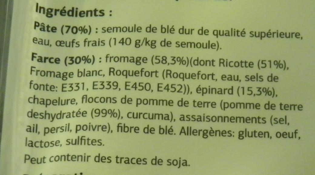 Tortellini Ricotte & épinards - Ingredients