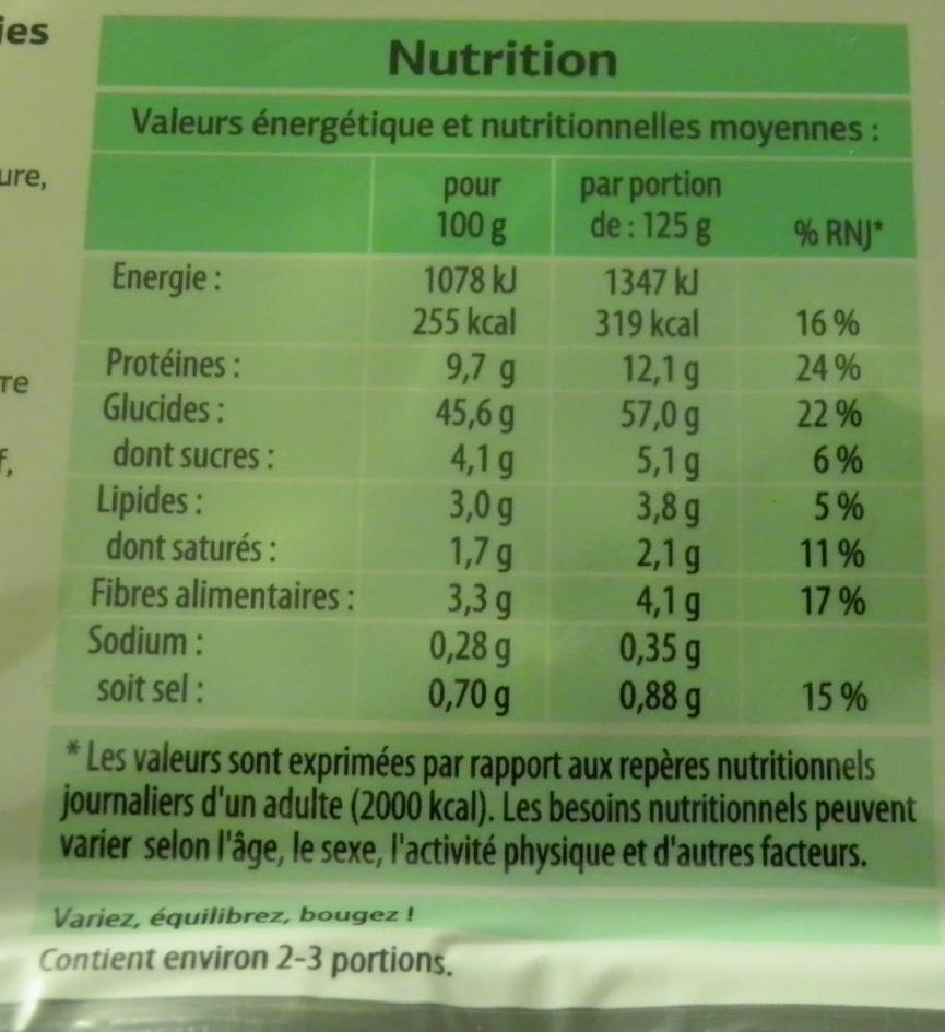 Tortellini Ricotte & épinards - Nutrition facts