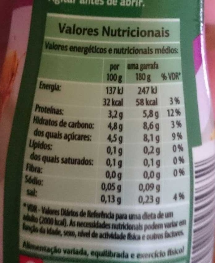 Bífidus ananás - Informação nutricional - pt