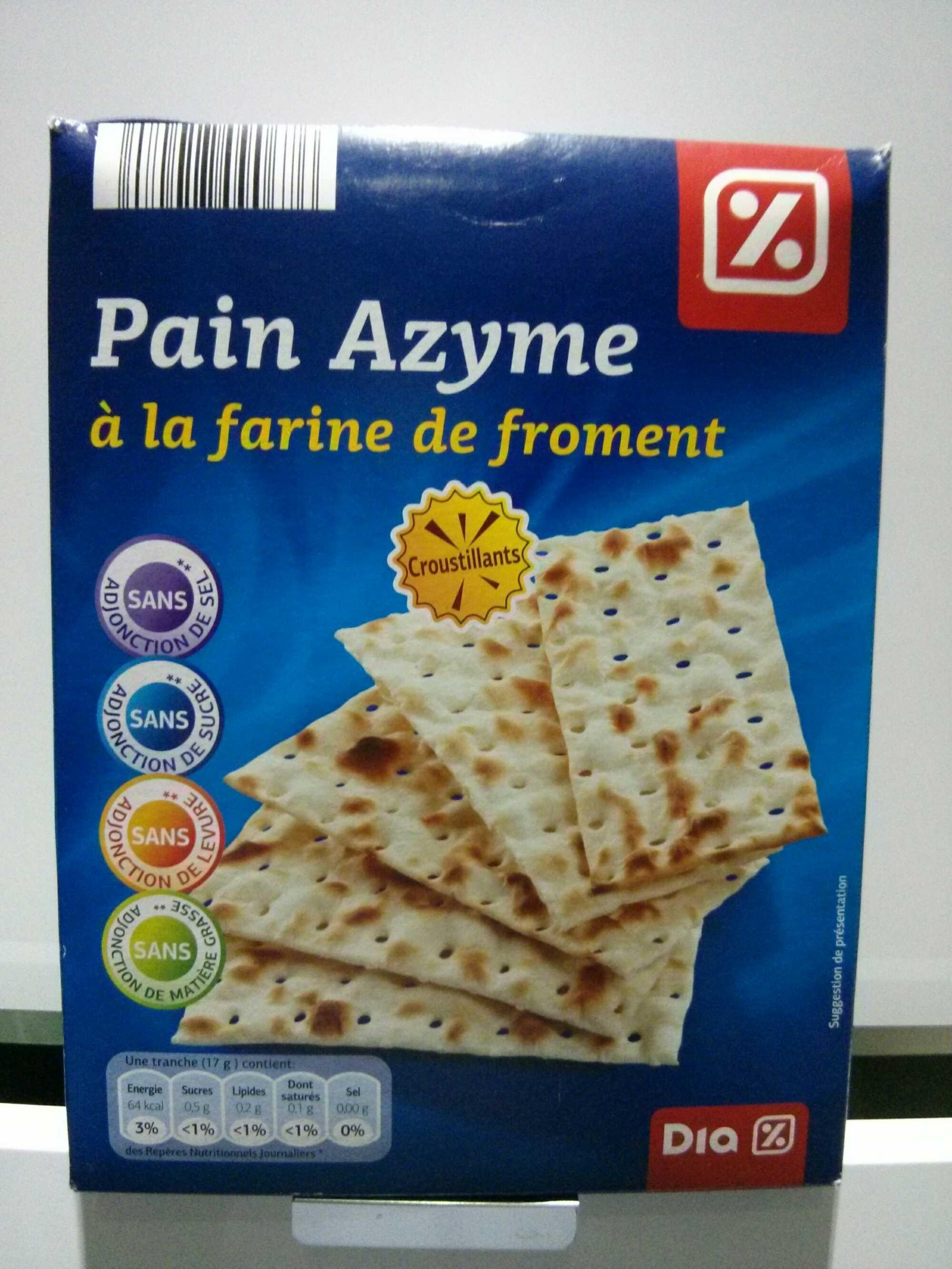 Pain Azyme à la farine de Froment - Produit