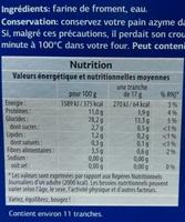 Pain Azyme à la farine de Froment - Ingrédients