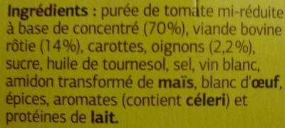 Sauce Italienne à la viande rôtie (Pur Bœuf) - Ingrédients - fr