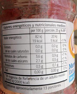 Mermelada extra sin azúcares añadidos - Información nutricional - es