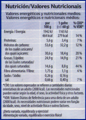 Gofres - Nutrition facts