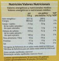 Galletas Digestive Soja & Frutas - Nährwertangaben - es