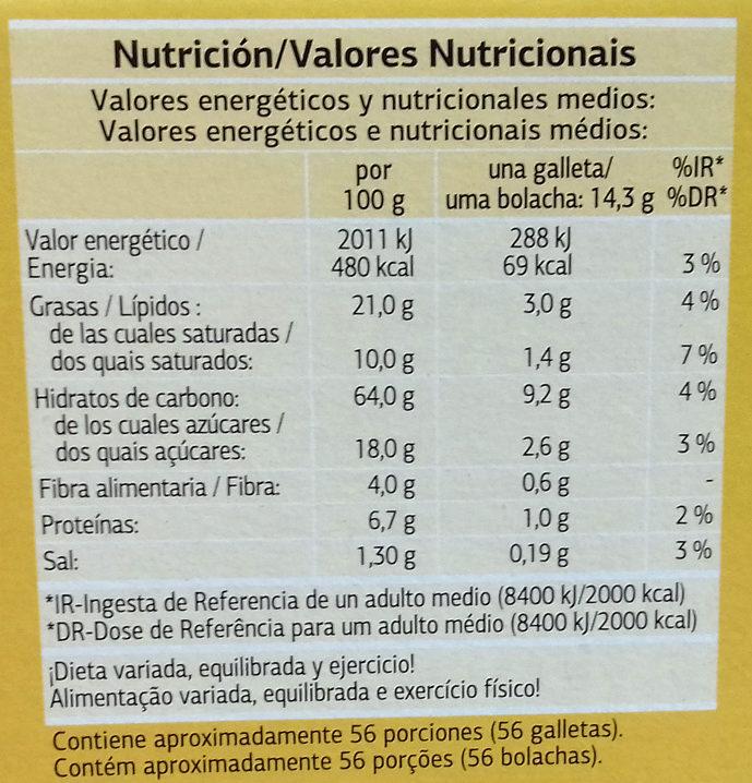 Galletas Digestive Soja & Frutas - Nutrition facts