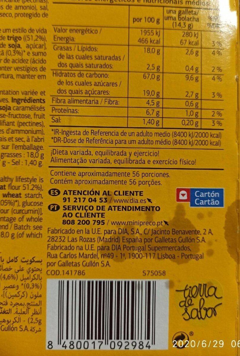 Galletas Digestive Soja & Frutas - Nutrition facts - es