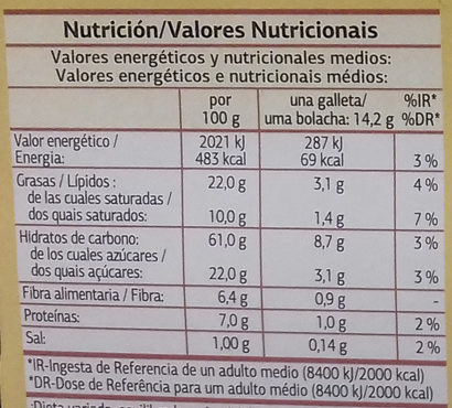 Galletas Digestive Avena - Nutrition facts