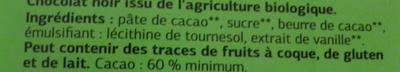Chocolat noir pâtissier Bio - Ingrédients - fr