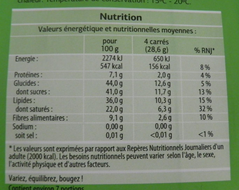Chocolat noir pâtissier Bio - Informations nutritionnelles - fr