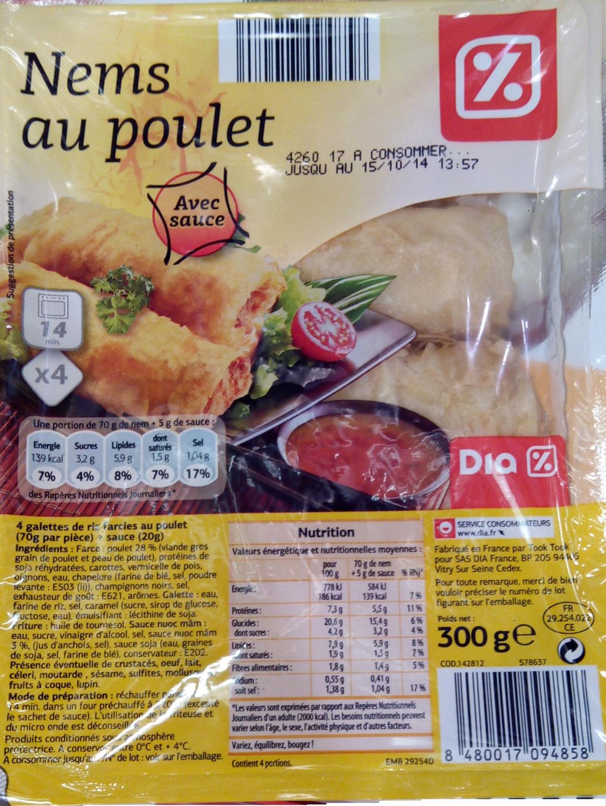 Nems au poulet, Avec sauce (x 4) - Product - fr