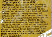 Nems au poulet, Avec sauce (x 4) - Ingredients - fr