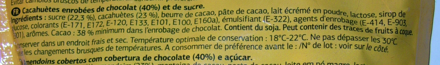 Cacahuètes enrobées de chocolat - Ingrediënten