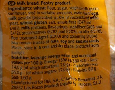 Pan de leche - Ingredienti - fr