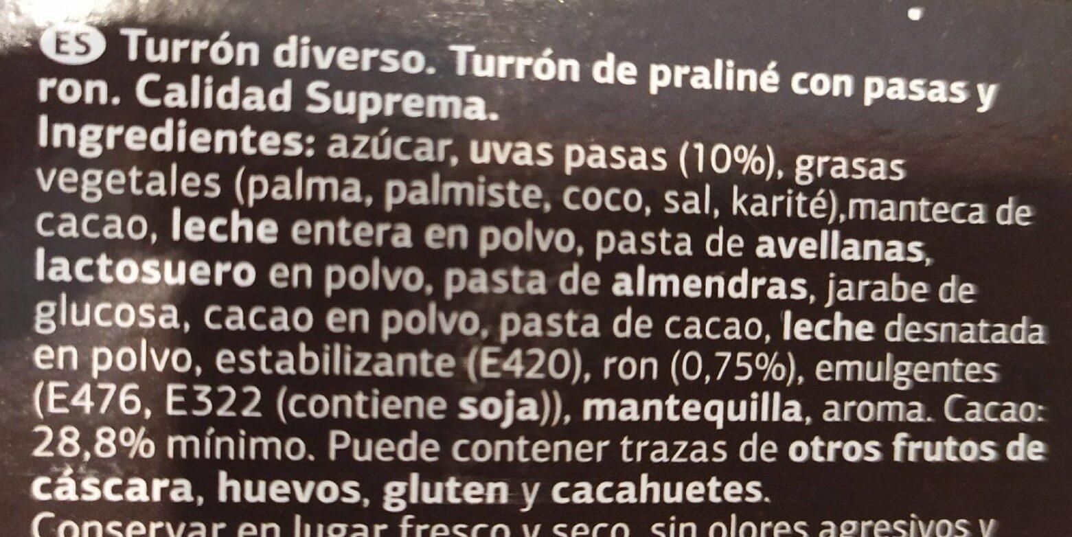 Turron ron con pasas - Ingredientes