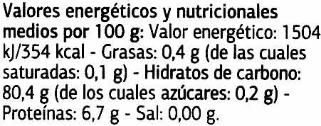 Arroz blanco Variedad Arborio - Nutrition facts