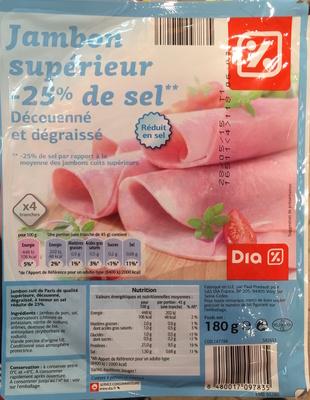 Jambon supérieur (-25% de sel) Découenné et dégraissé - Produit