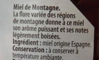 Miel de montagne - Ingrédients - fr
