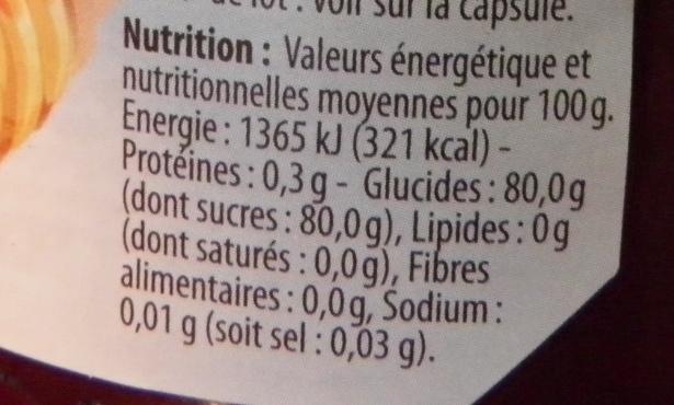 Miel de montagne - Informations nutritionnelles - fr