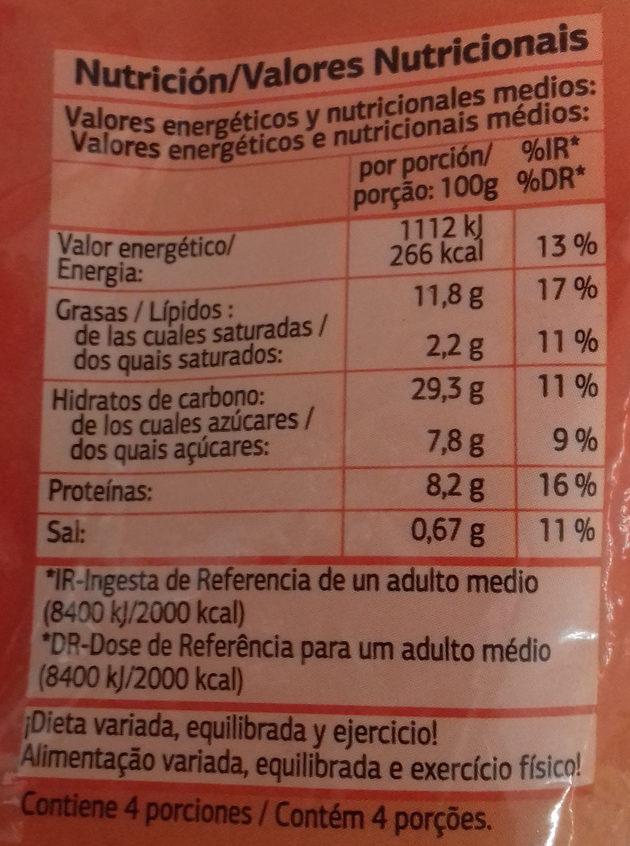 Aros de cebolla - Informations nutritionnelles - es