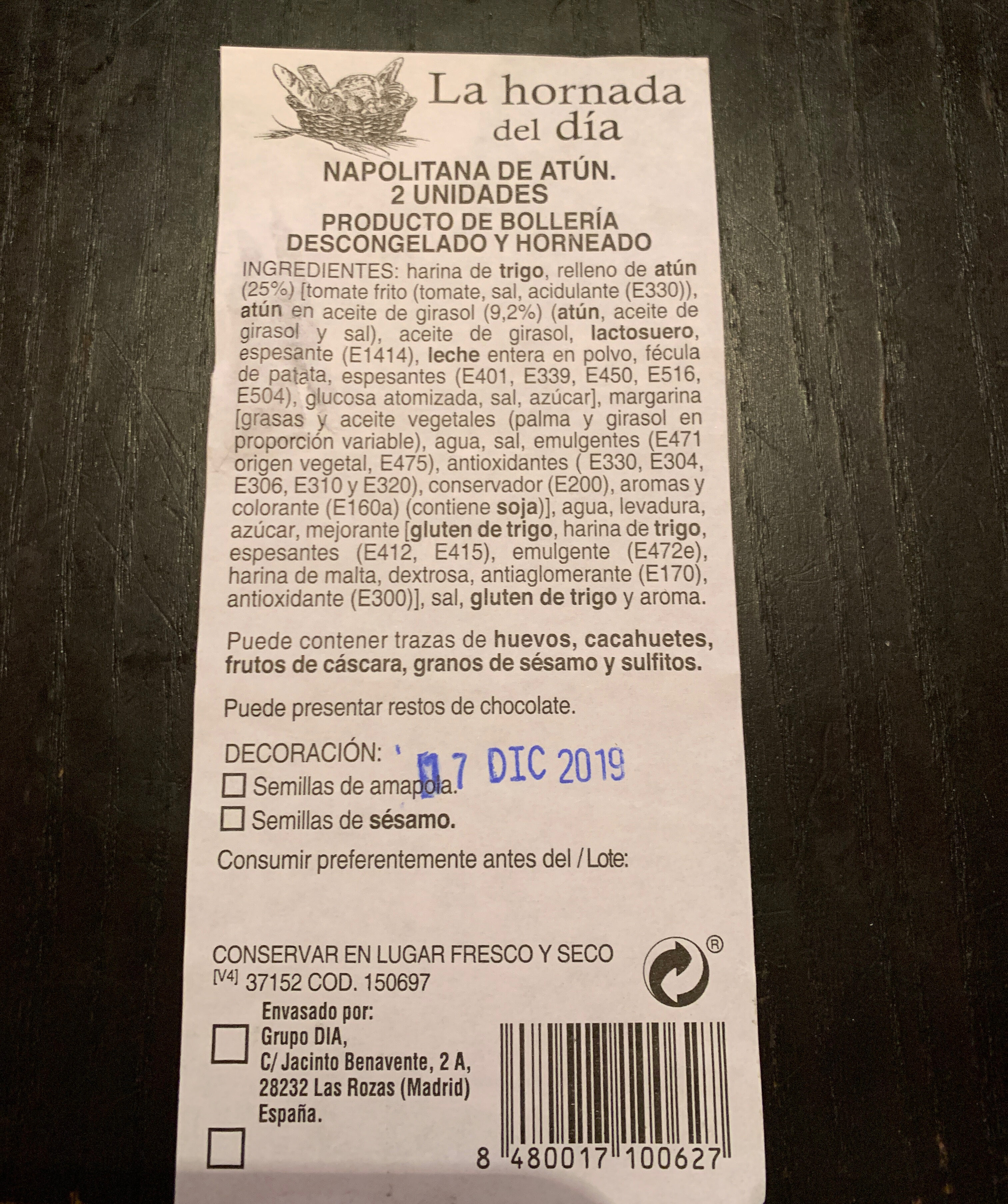 Napolitana de Atún 2 unidades - Ingredientes