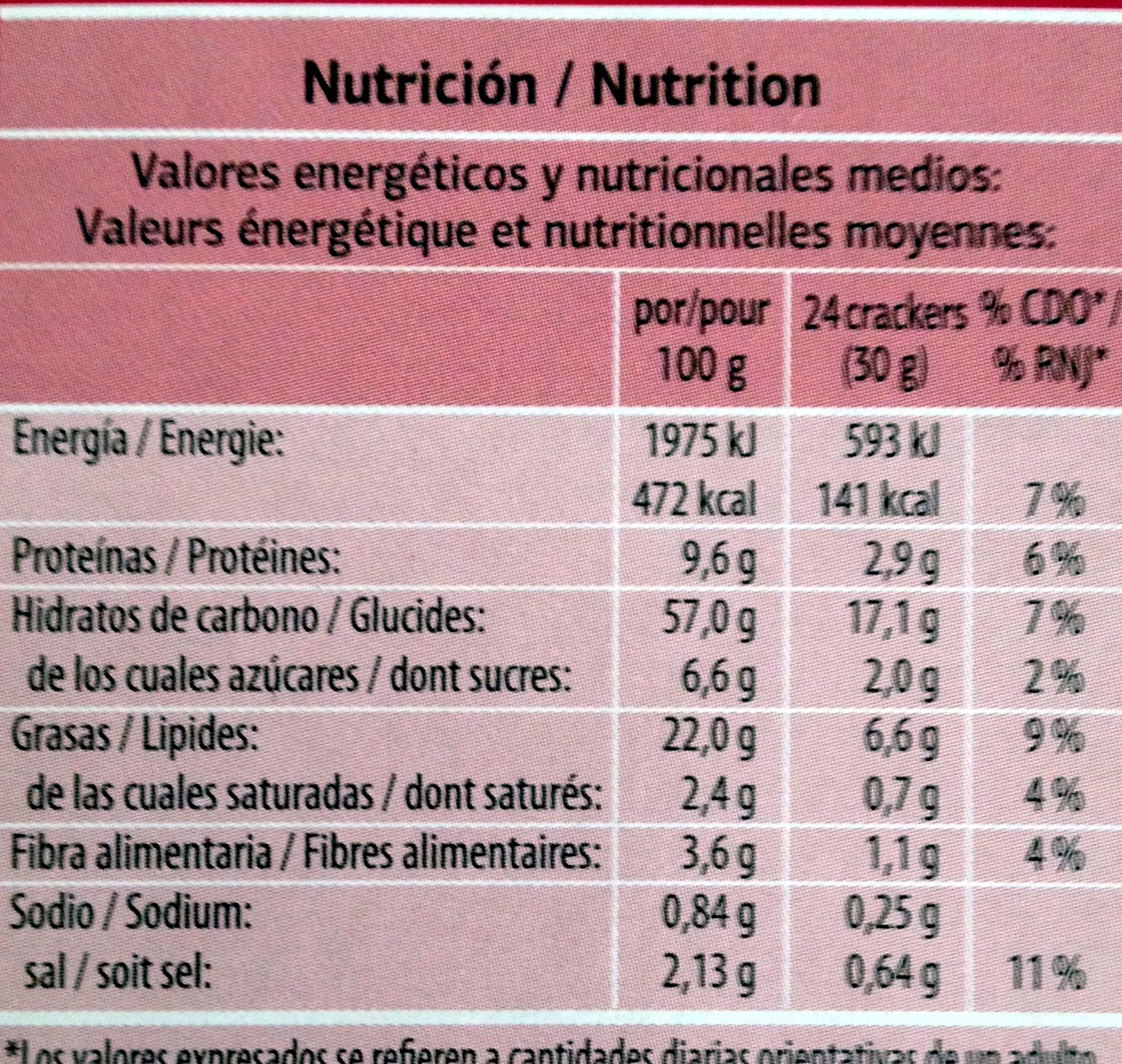 Crackers sésame et pavot - Informations nutritionnelles - fr