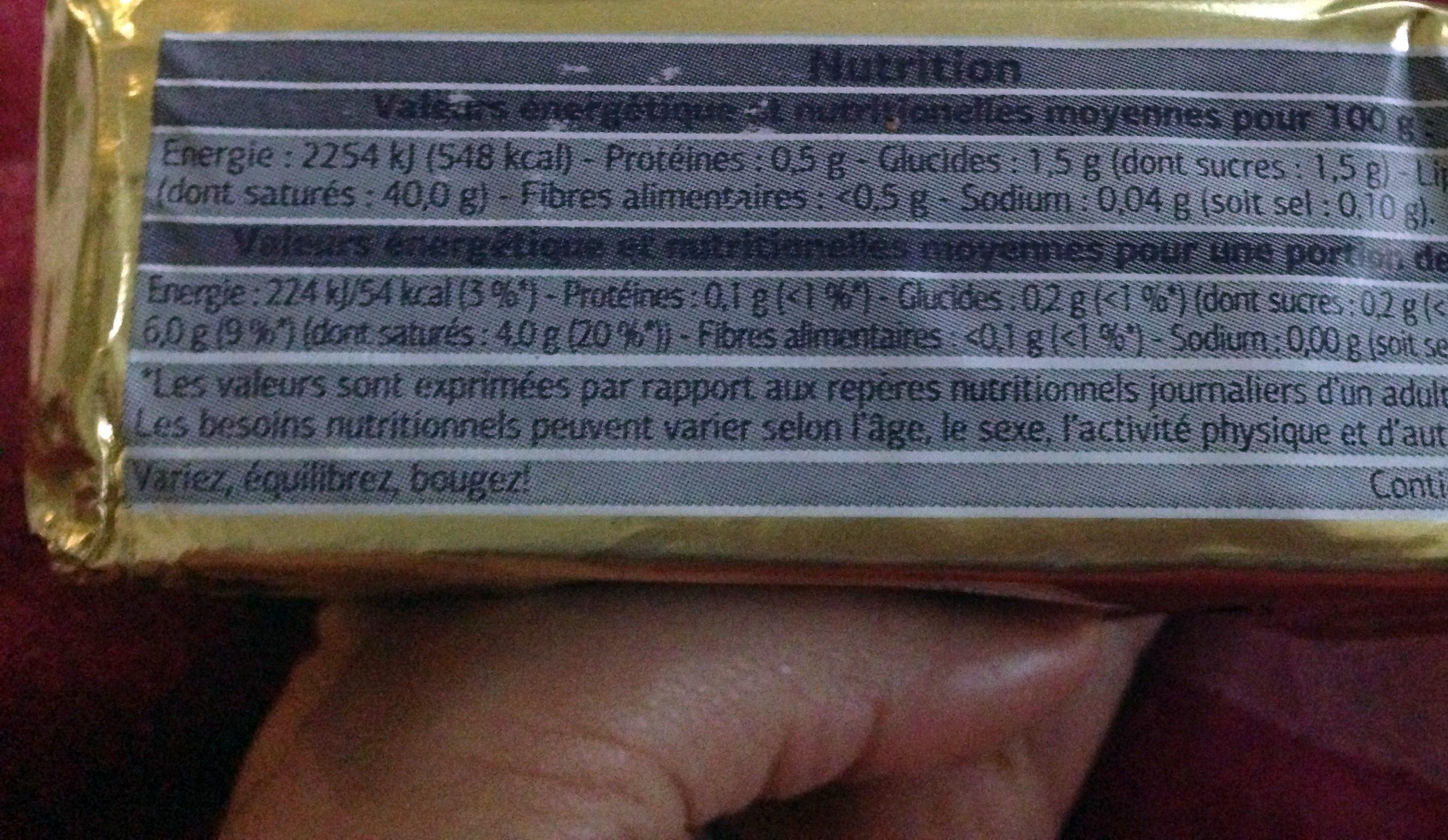 Beurre à Teneur Réduite en Matière Grasse (60%) Doux - Voedigswaarden