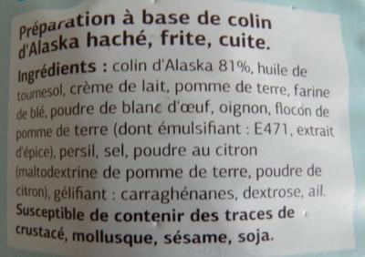Haché de Colin d'Alaska - Ingrediënten - fr
