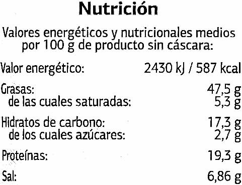 Semillas de girasol con cáscara tostadas con sal gigantes - Informació nutricional - es