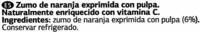 """Zumo de naranja exprimida refrigerado con pulpa """"Dia"""" - Ingredients - es"""