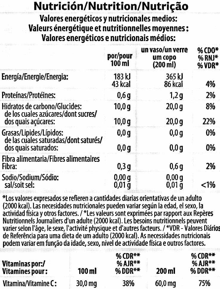 """Zumo de naranja exprimida refrigerado con pulpa """"Dia"""" - Informació nutricional - es"""