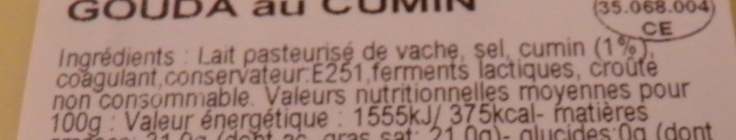 Gouda au Cumin (31 % MG) - Ingrediënten - fr