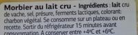 Morbier (30,6% MG) - Ingredients - fr