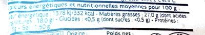 Saint-Nectaire Laitier AOP (27 % MG) - Informations nutritionnelles - fr