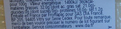 Tomme blanche (32% MG) - Nutrition facts - fr