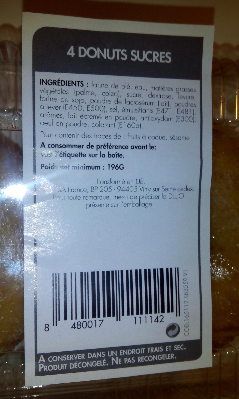4 donuts natures sucrés - Ingredientes - fr