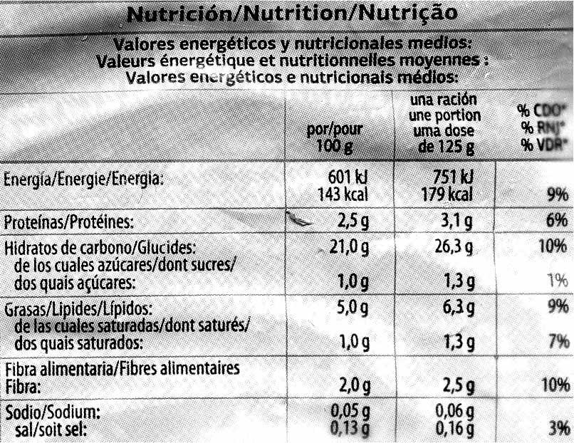 "Patatas prefritas congeladas ""Dia"" - Informations nutritionnelles"