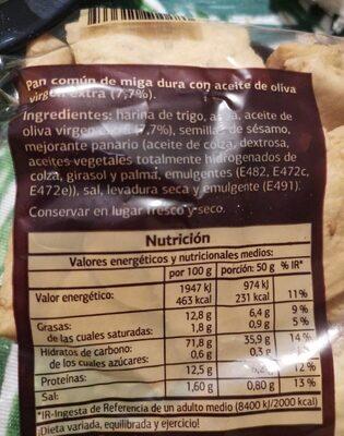 Regañá con AOVE - Valori nutrizionali - es