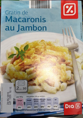 Gratin de Macaronis au Jambon - Produit