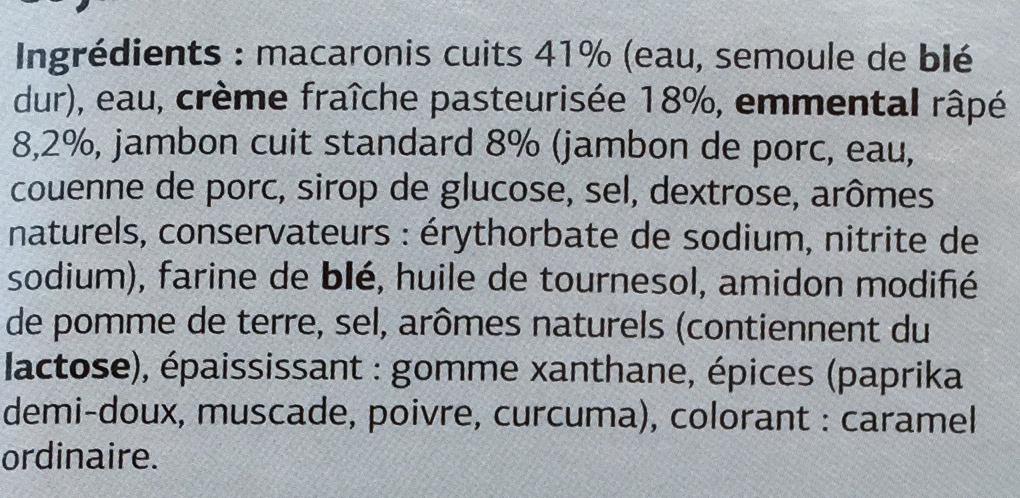 Gratin de Macaronis au Jambon - Ingrédients