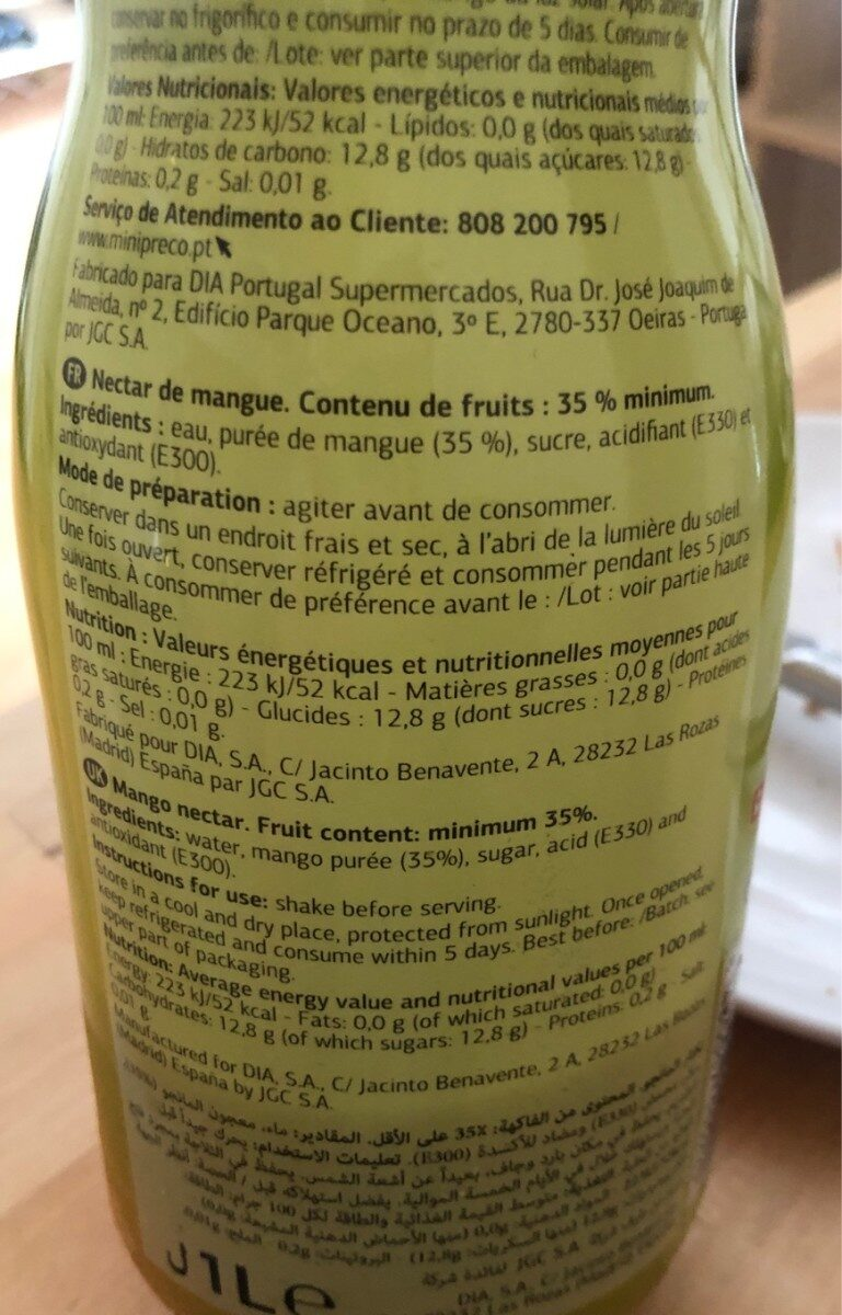 Nectar de mango - Ingredients