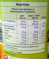 Nectar de mango - Nutrition facts